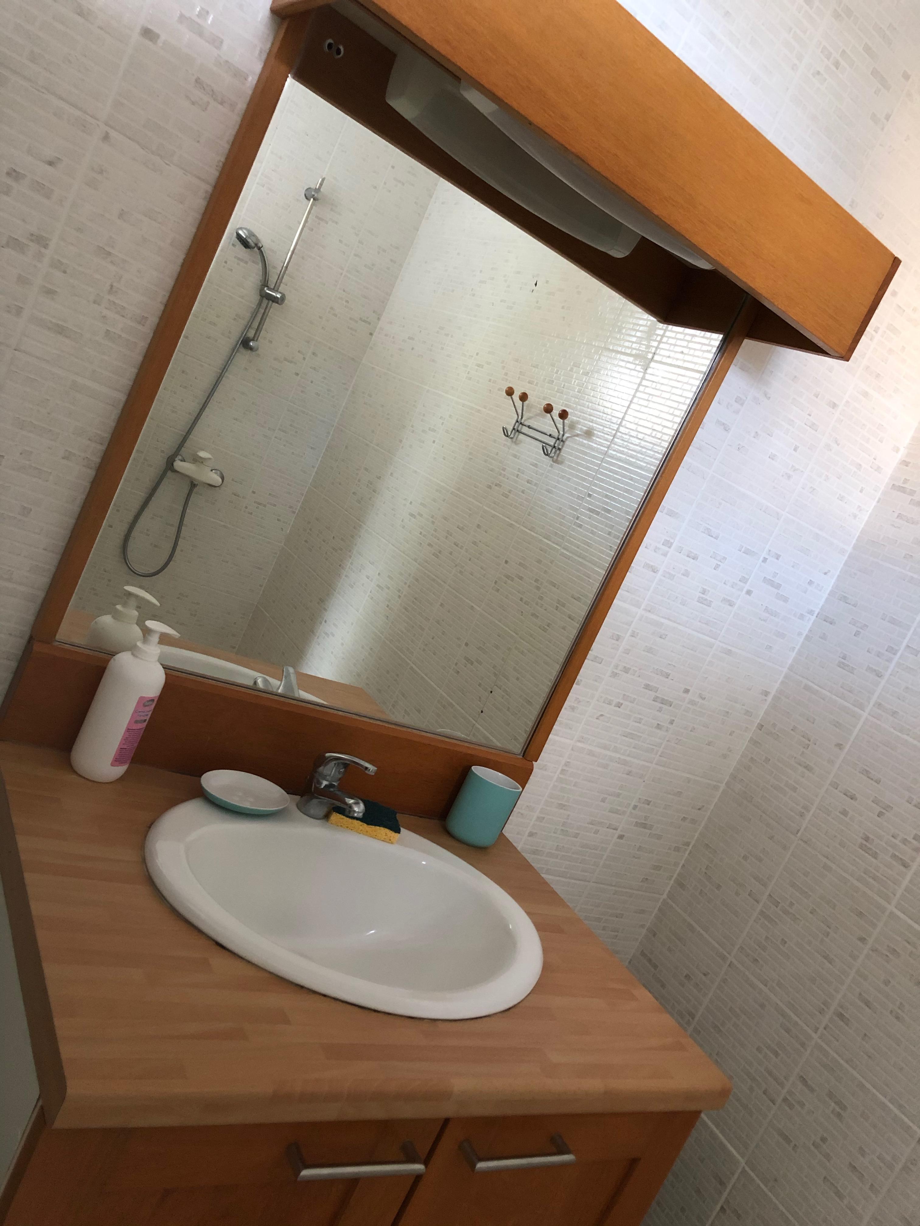 Vue de la salle de bain avec son meuble vasque, sa douche italienne et les toilettes