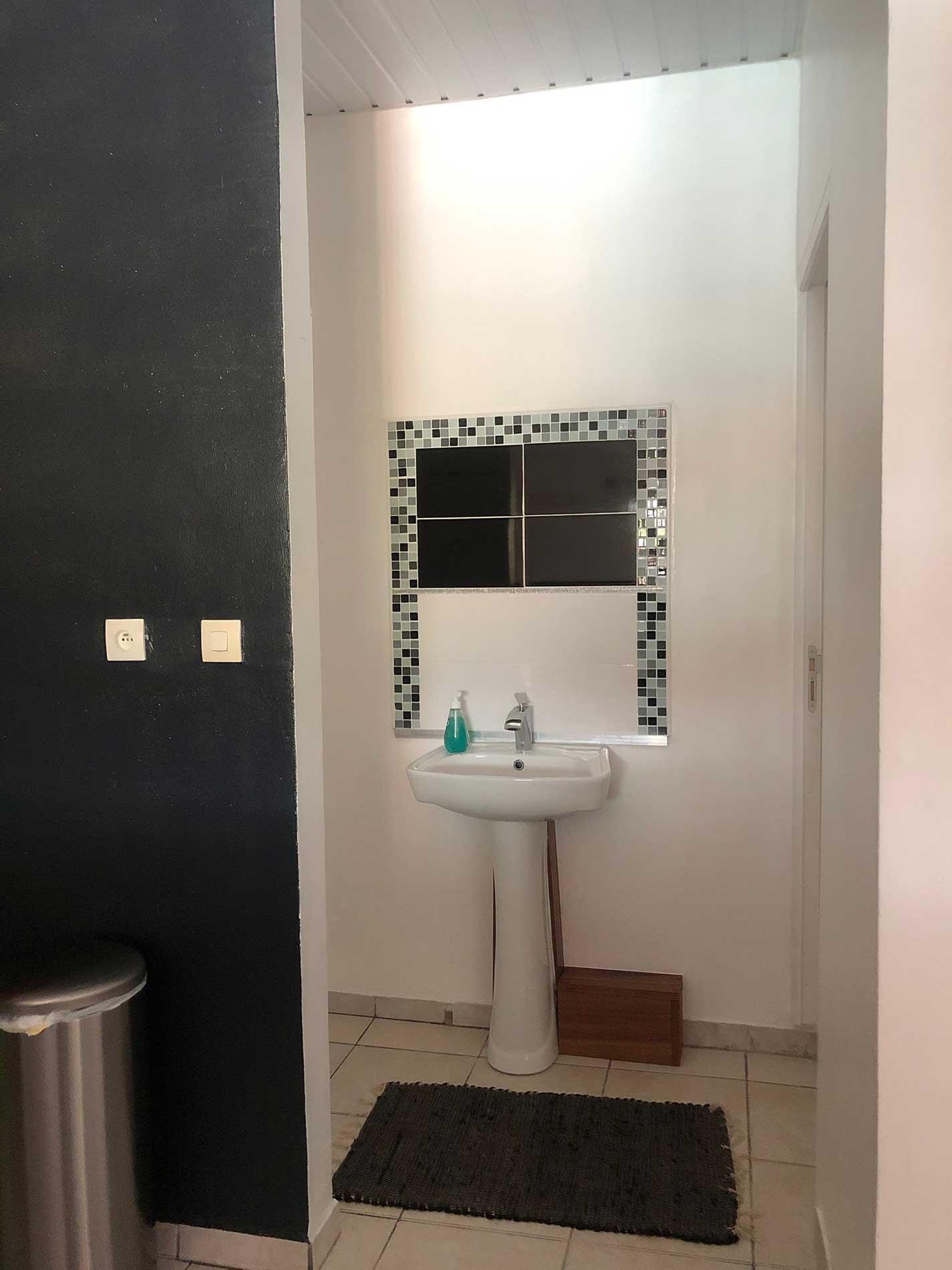 Vue sur l'entrée de l'espace toilettes, dans lequel on voit le lavabo sur pied et la faïence noir et blanche